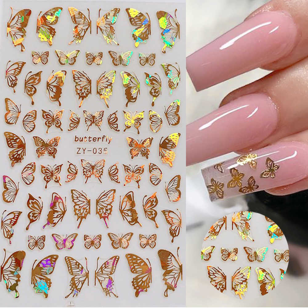 1Pc Holografische 3D Vlinder Nail Art Stickers Lijm Sliders Kleurrijke Diy Golden Nail Transfer Decals Folies Wraps Decoraties
