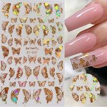 1 шт голографические 3d наклейки с бабочками для дизайна ногтей
