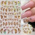 1 шт. голографические 3D наклейки-бабочки для дизайна ногтей клейкие слайдеры Красочные золотые переводные наклейки для ногтей «сделай сам» ...