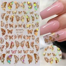 1pc adesivi olografici 3D per Nail Art farfalla cursori adesivi colorati fai da te dorati decalcomanie per trasferimento di unghie pellicole avvolge decorazioni