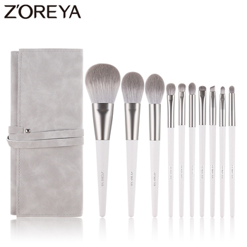Zoreya Brand Soft Synthetic Hair Eye Shadow Brush White Handle Blending Blush Lip Powder Highlighter Makeup Brushes Set 10pcs