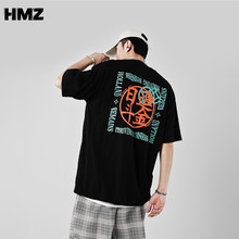 HMZ Summer Chinese style Tshirt Streetwear Loose T Shirt Men Harajuku Punk Short Sleeves T-shirts Tops Tee Hip Hop Loose Tshirt