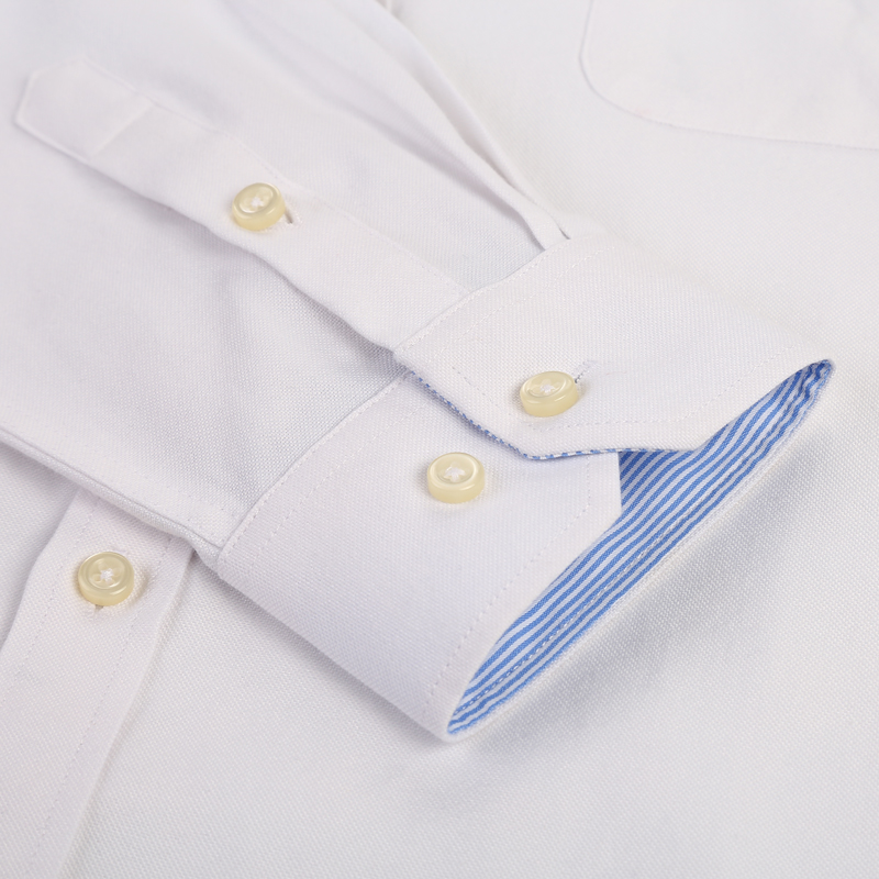 Men's Plus Size Casual Solid Oxford Dress Shirt Single Patch Pocket Long Sleeve Regular-fit Button-down Thick Shirts 4