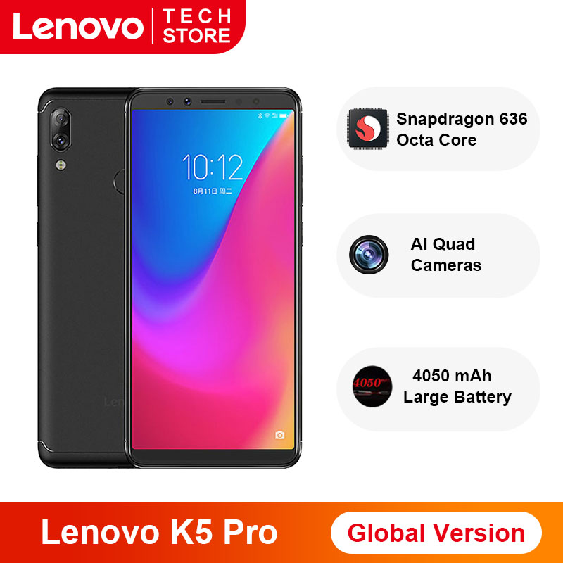 Global Version Lenovo K5 Pro Snapdragon 636 Octa Core Smartphone 6GB RAM 64GB ROM 5.99 Inch Four Cameras 4050 MAh 4G Phones