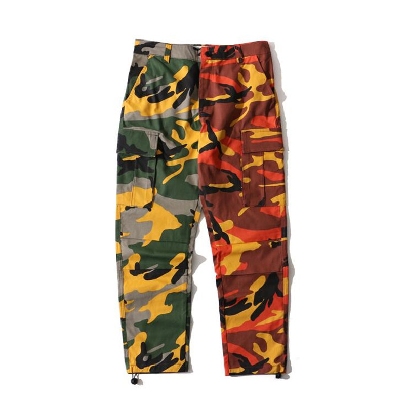 HEYGUYS Two-Tone Camo Pants Hip Hop Patchwork Camouflage Military Cargo Trouser Casual Cotton Multi Pockets Pant Streetwear