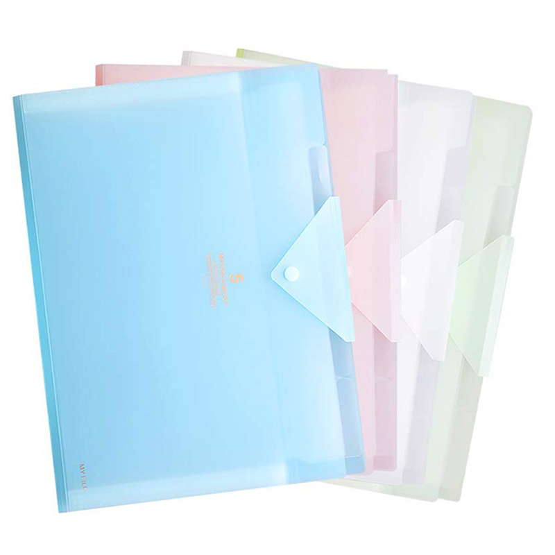 Office Folder Organizer, File Folder, Plastic Accordion Folder With 5 Pocket, A4 Letter Size Organizer With Snap Closure For Sch