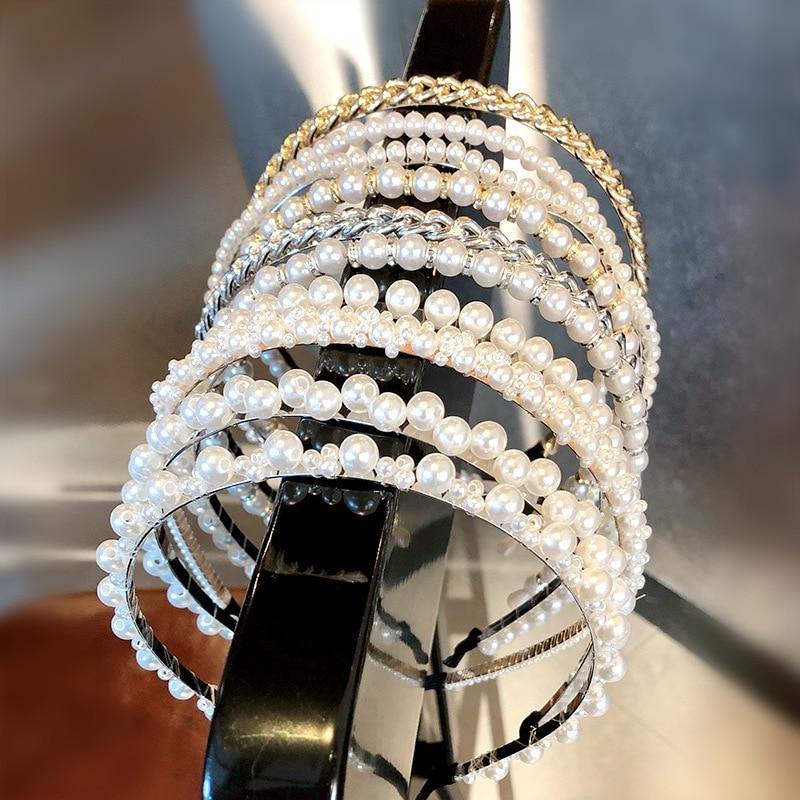 New Fashion Pearl Design Headband For Women Ladies Hairband Elegant Girls Headwear Headdress Wedding Hair Accessories