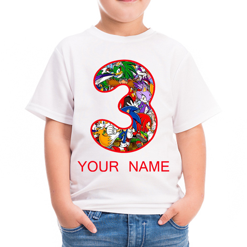 2020 New Custom Sonic The Hedgehog Boys Girls Your Name Happy Birthday Number Children S T Shirt Sonic Print T Shirt For Boy T Shirts Aliexpress