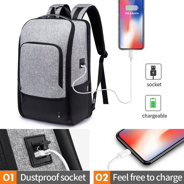 Bange Fashion Men 15.6inch Laptop Backpack Anti-theft Technology Business Backpack Waterproof USB RechargeTravel Backpack