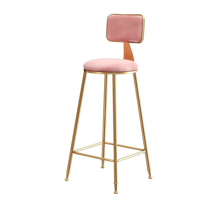 Nordic Ins Bar Chair Net Red Light Luxury Back Chair Modern Simple Fashion Bar Front Stool