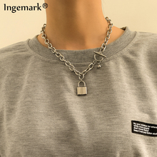 Lock Chain Necklace Padlock Pendants Women Men Punk Stainless Steel Chunky Chain Jewelry On The Neck 2021 Aesthetic Accessories