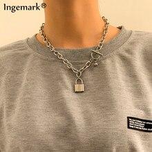 Collier avec chaîne de cadenas pour hommes et femmes, pendentif Punk en acier inoxydable, chaîne épaisse, bijoux sur le cou, accessoires esthétiques, 2021