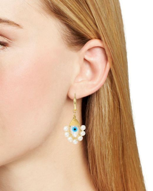 beck-jewels-MultiGold-Evil-Eye-Mismatched-Drop-Earrings