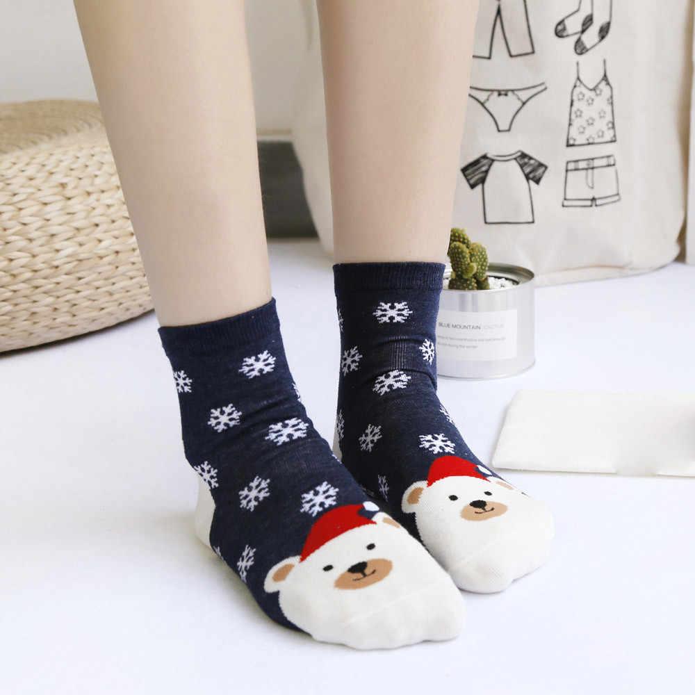 חג המולד גרבי לנשים מקרית 2020 סתיו חורף חם כותנה גרביים חמוד Kawaii גבירותיי גרבי סנטה קלאוס הדפסת חג המולד גרב 2020