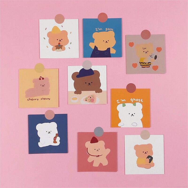 9Pcs 8*8cm Korean Cartoon Cute Bear Illustration INS Album HD Photo Card Self Adhesive Stickers Photocard