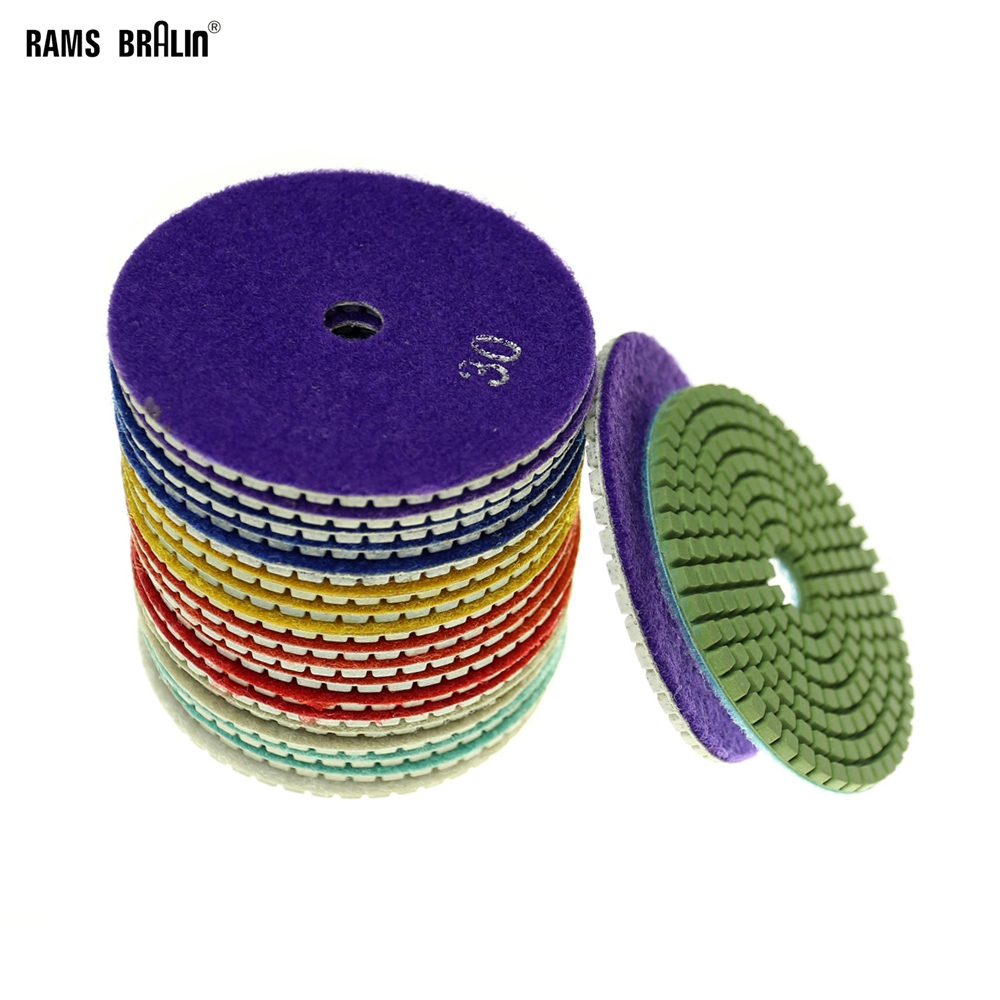 20 Pieces P30 To P5000 Dia. 100mm Diamond Wet Flexible Polishing Pad For Marble Stone Ceramic Tiles
