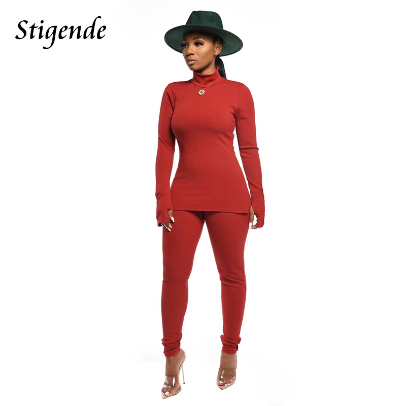 Stigende Women Casual Stand Neck Two Piece Ribbed Set Long Sleeve Pullover And Pencil Pants Elegant Solid Color Gym Workout Sets