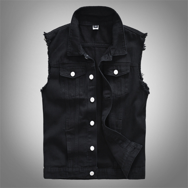 Mens Fashion Denim Black-Vests