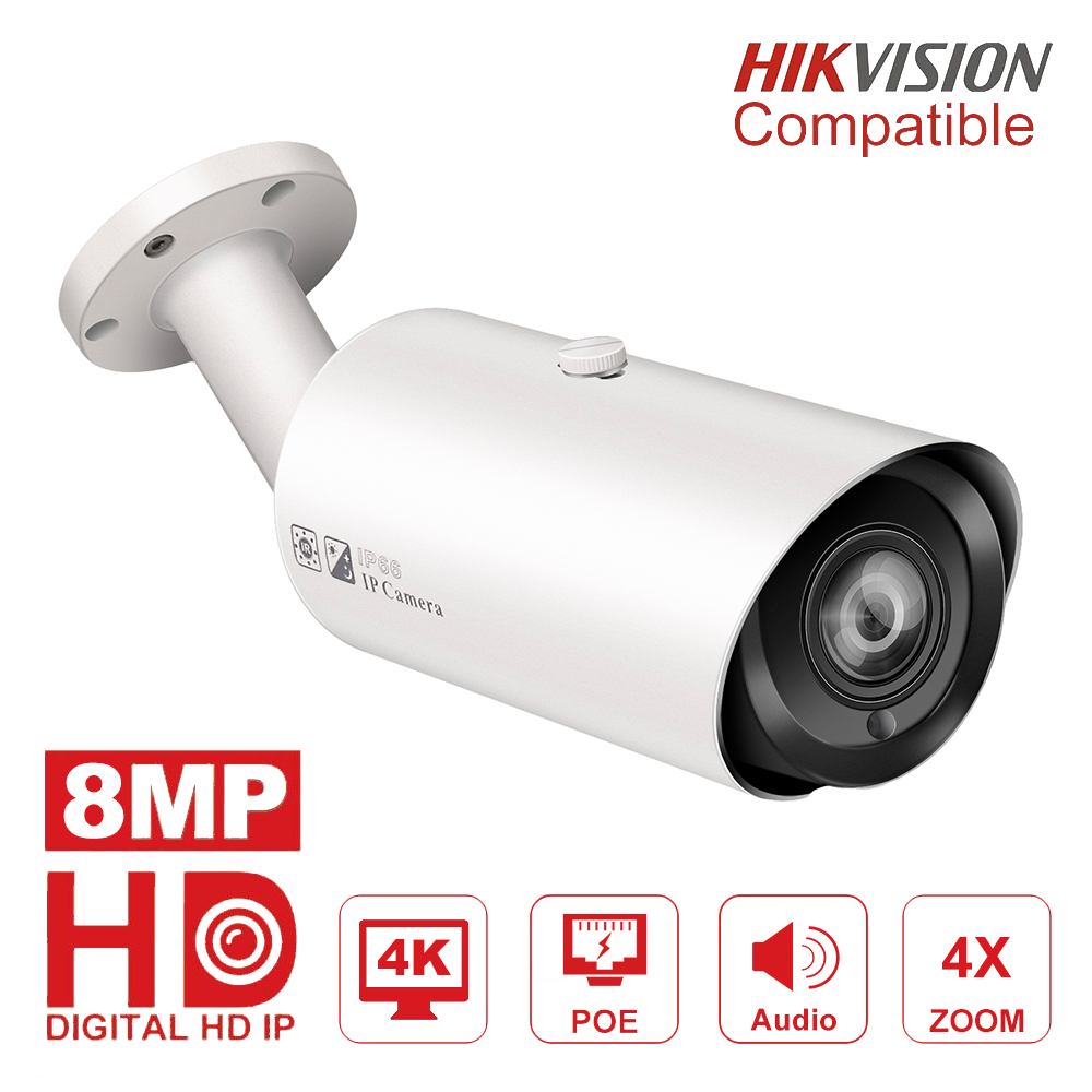 Hikvision Compatible 4K POE IP Camera Outdoor 8MP Vari-Focus 2.8-12mm Bullet CCTV Video Surveillance Camera H.265 Micro SD Slot