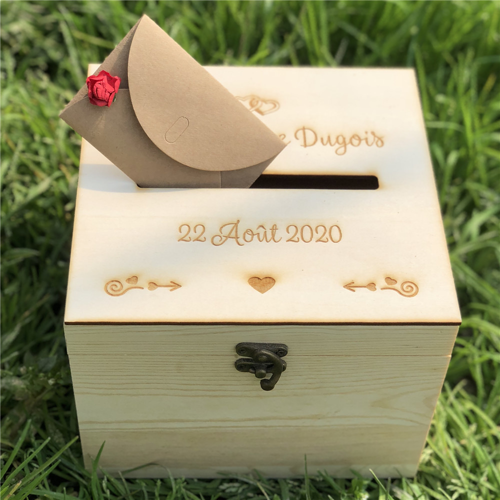 Personalised Wooden Wedding Envelope Gift Card Box Invitation Card DIY Box Wedding Guest Memory Wishing Well Wooden Box