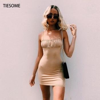 TIESOME Mini Sling Dress Women Hot 2020 Summer Sexy Strapless Skinny Dresses Clothes Fashion Sleeveless Club Party