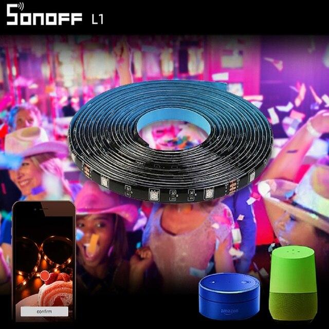 Sonoff L1 wifiスマートledライトストリップ2メートル/5メートル防水5050 rgb調光可能なコントローラalexa googleホームリビングダンスと音楽