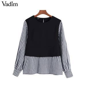 Image 2 - Vadim נשים אופנה משובצת טלאי חולצה ארוך שרוול O צוואר חולצות נקבה מקרית אופנתי חולצות blusas LB588