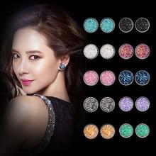 Luxury Rhinestone Round Earrings 2020 Women Geometric Circle Frosted Crystal Stainless Steel Stud Earrings Jewelry