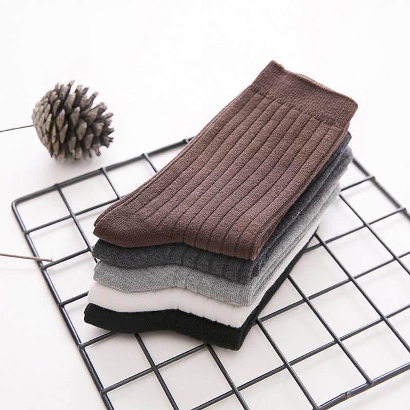 5 Pairs/Set   Men's Socks Cotton Solid Color Daily Socks Unisex Male Casual Sock Men Winter Warm Sox 2020