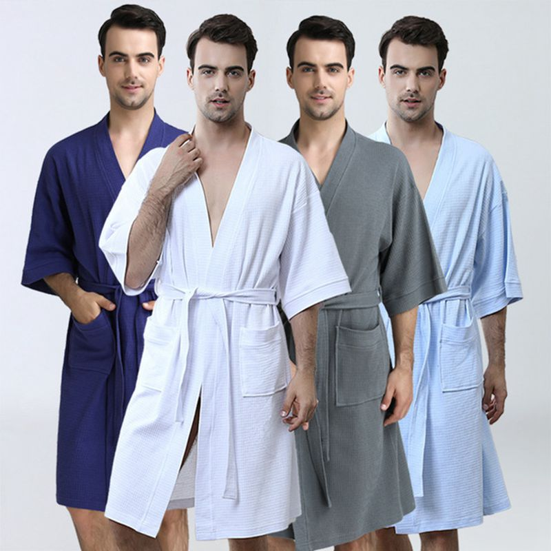 Men's Bathrobes Thin Fashion Kimono Bathrobes Solid Color Comfortable Nightgown Men's Evening Clothes Kimono Men