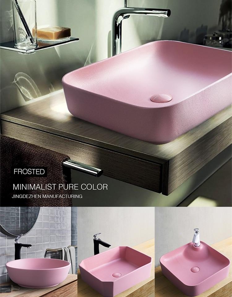 ceramic household wash sink toilet art simple bathroom small vessel sink bowls pink terrace basin washbasin bathroom sink
