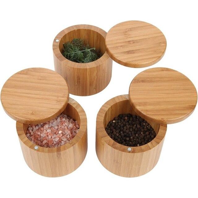 Pot rond en bambou pour sel et épices | Boîte à sel avec serrure magnétique, boîte de rangement en bambou avec couvercle pivotant magnétique