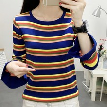 Autumn Casual Striped Pullover Sweater Knitted  O Neck Long sleeve Bottoming Slim Flare Sleeve Women Sweater X goplus women s knitted sweater o neck autumn pullovers loose flare sleeve colorful striped pullover coat kleding vrouwen c9503
