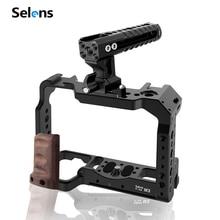 Selens a7iii a7r3 a7m3 A7III A7R3 A7M3 용 카메라 케이지 조작 장치 알루미늄 탑 핸들 그립이있는 콜드 슈 마운트 Pearwood Handle