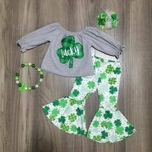 baby girls St. Patricks Day gray green lucky shamrock outfit Spring cotton ruffle Bell bottoms pants clothes match accessories