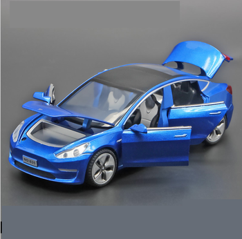 1: 32 Tesla Model3 Alloy Model With Light And Sound Effect Reverberation Car Children's Toy Boy Birthday Gift Blue 1