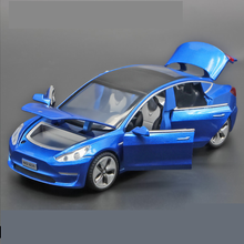 Car Model3-Alloy-Model Light Tesla Reverberation Children's with And Sound-Effect Toy