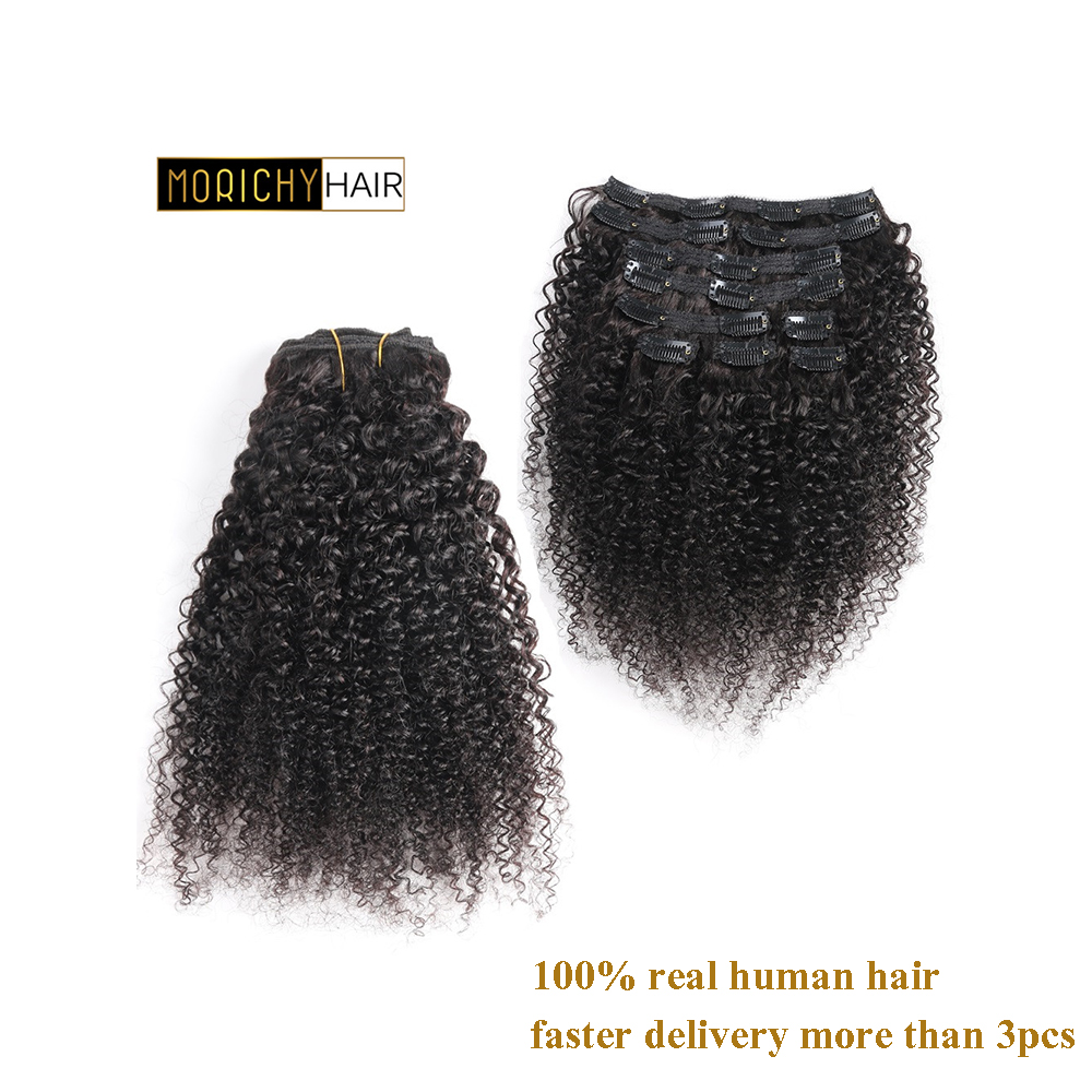 Morichy Mongolian Kinky Curly Weave Non-Remy Clip In Human Hair Extensions Natural Color Full Head 10 Pcs/Set 120G Free Shipping