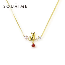 100% Natural Pearl  heart-shaped pendant garnet pearl clavicle chain 925 sterling silver cute kitten necklace female цена 2017