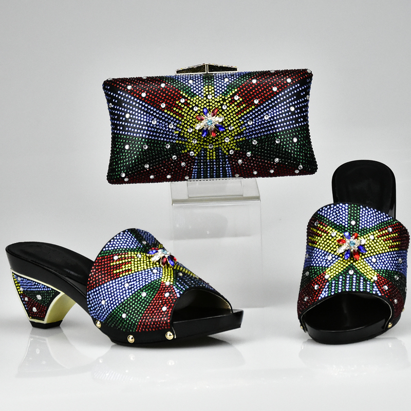 New Arrival Black Color Shoes And Bag Set African Sets 2017 Shoes And Bags To Match African Shoe And Bag Set For Party In Women