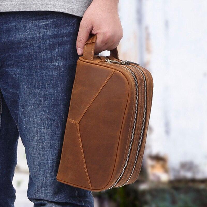 MISFITS Men's Wash Bag Multi-Function Ladies Cosmetic Bag Large-Capacity Leather Double-Layer Handbag