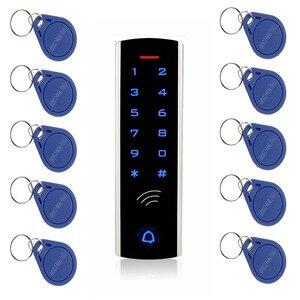 Image 1 - Комплект системы контроля доступа с сенсорной клавиатурой RFID, 125 кГц, EM Card, водонепроницаемый металлический чехол, светящийся для входной двери F1289D