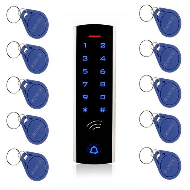 Комплект системы контроля доступа с сенсорной клавиатурой RFID, 125 кГц, EM Card, водонепроницаемый металлический чехол, светящийся для входной двери F1289D