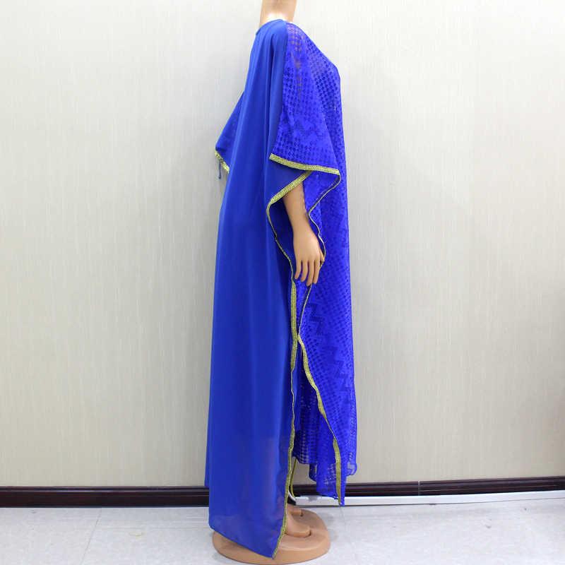2020 güzel moda dantel kumaş afrika uzun elbise aplikler pullu en iyi kadın uzun elbise parti için (2 in 1) iki parçalı Set