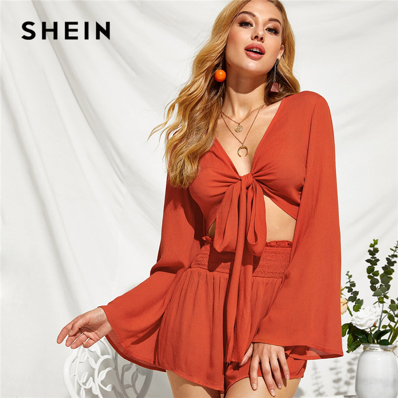 SHEIN Red Tie Front Crop Top And Frill Shirred Waist Shorts 2 Piece Set Women Summer Long Sleeve Deep V Neck Boho Two Piece Set