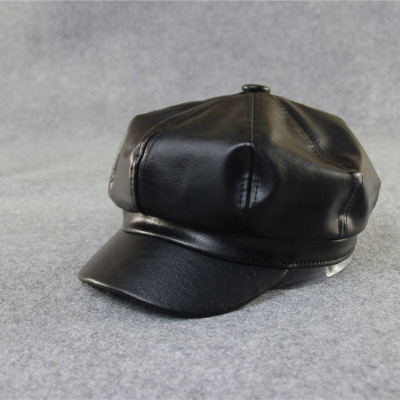 Women Beret Solid  PU Leather Beret Ladies Autumn Winter Retro Octagonal Hat French Artist Warm Beanie Hat