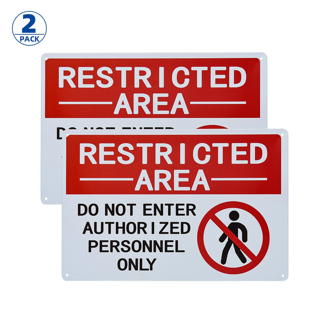 (2 PACK) Restricted Area Sign Authorized Personnel Only, Don Not Enter Sign image