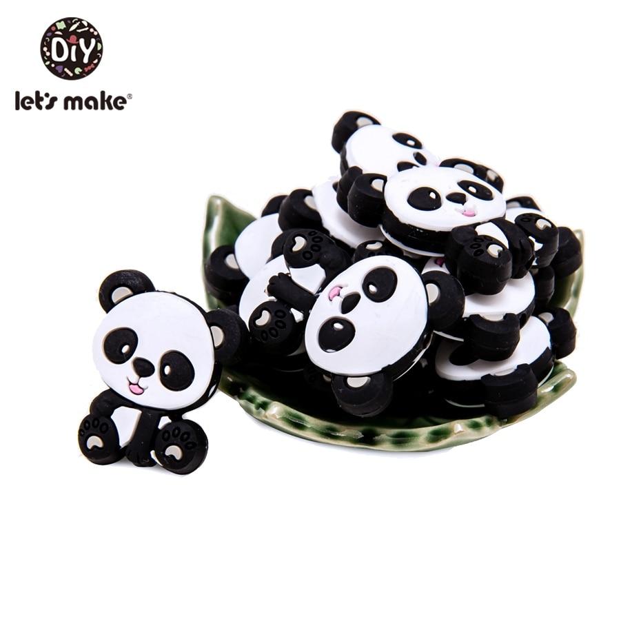 Let'S Make 5Pc Silicone Teethers Cartoon Mini Panda Tiny Beads Bpa Free Silicone Pendant Baby  Teethinn Toys Newborn Shower Gift