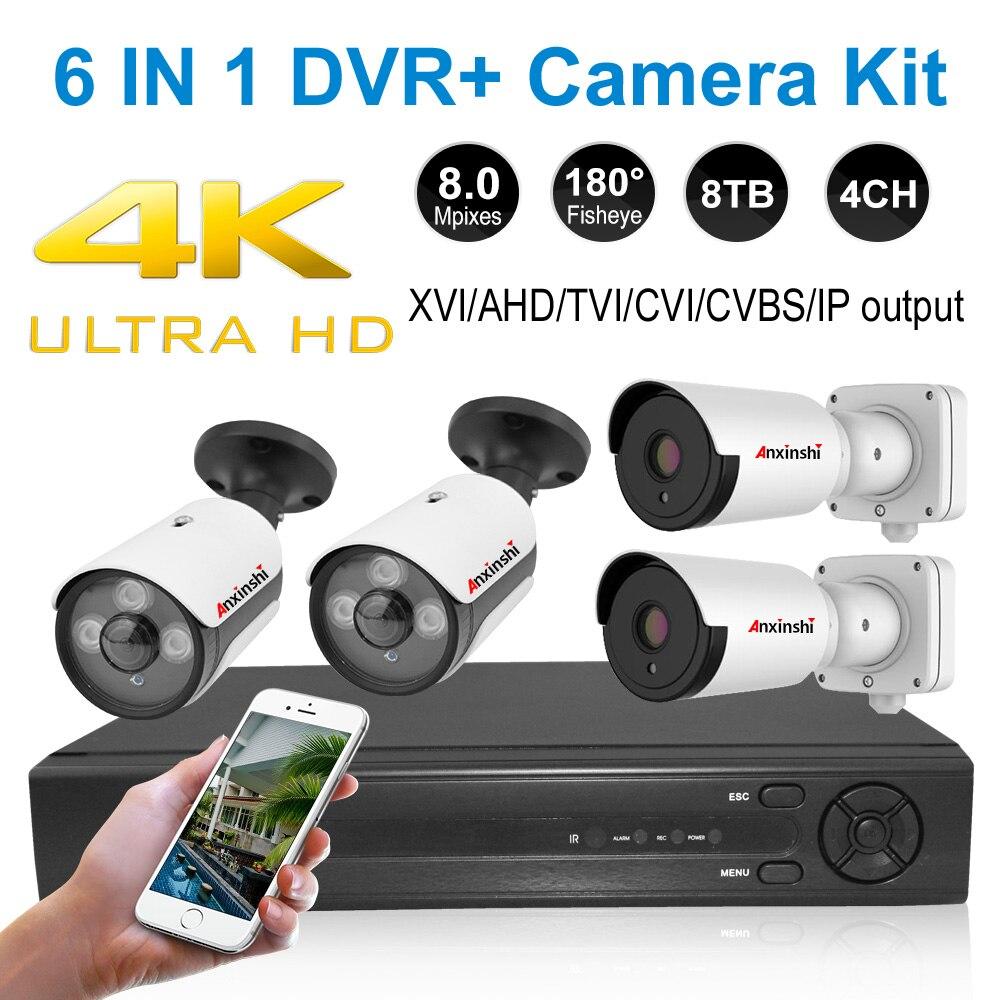 4K CCTV system 8MP DVR außen AHD kamera wasserdichte kugel nachtsicht überwachung kamera fisheye home video überwachung kit