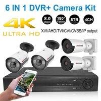 4K CCTV system 8MP DVR outdoor AHD camera waterproof bullet night vision surveillance camera fisheye home video surveillance kit